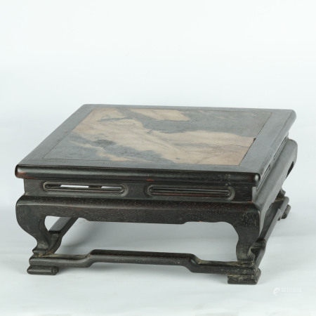 Qing Dynasty - Narra Wood with Stone Inlay Table