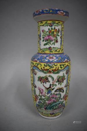 Vase Canton, debut XXème siècle H. 25,5 cm