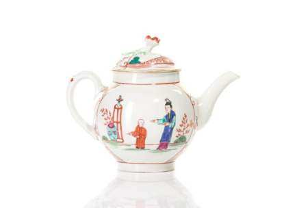18TH C. DR. WALL WORCESTER CHINOISERIE TEA POT