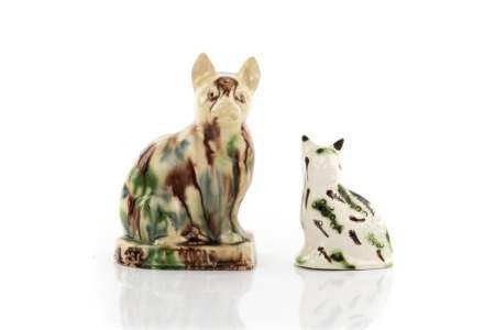 TWO 18TH C STAFFORDSHIRE CREAMWARE PORCELAIN CATS