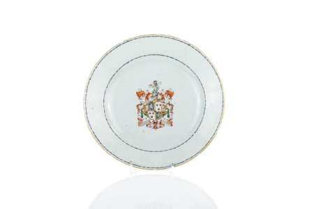 18TH C CHINESE EXPORT PORCELAIN ARMORIAL PLATE