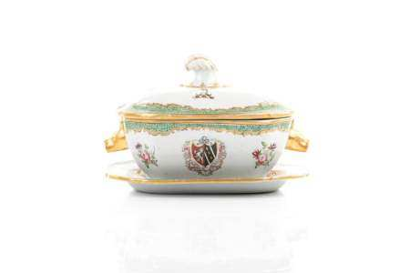 19TH C  SPODE ARMORIAL PORCELAIN TUREEN ON STAND