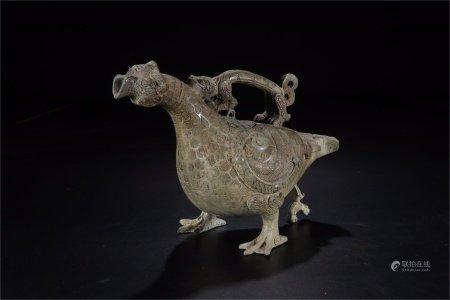 A Chinese Bronze Wine Pot