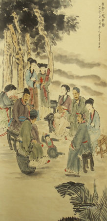 CHINESE PAINTING OF SCHOLAR GATHERING IN WOODS BY FU BAOSHI