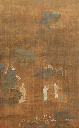 CHINESE SILK HANDSCROLL FIGURE PAINTING OF ZHAO YONG