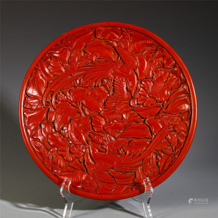 CHINESE CINNABAR CARVED FLOWER AND PHOENIX PATTERN VIEWS DISH
