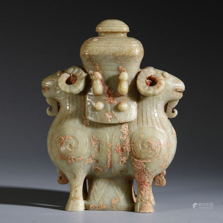 CHINESE JADE CARVED DOUBLE SHEEP SHAPED VASE TABLE ITEM