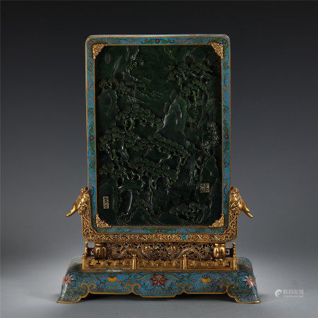 CHINESE CLOISONNE INLAID JADE CARVED LANDSCAPE TABLE SCREEN