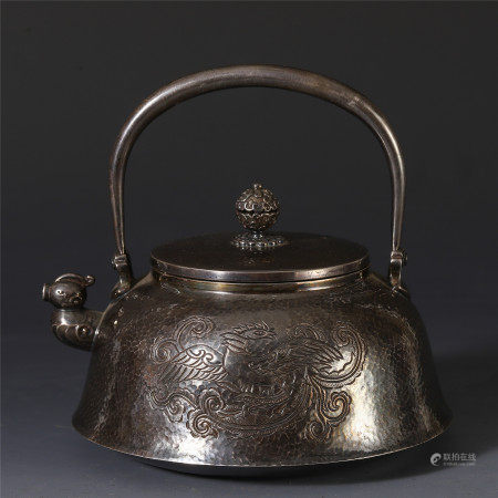 HINESE PURE SILVER CARVED PHOENIX PATTERN LONG HANDLE KETTLE