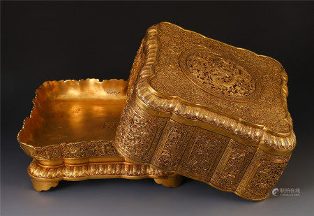 CHINESE BRONZE GILT CARVED DRAGON PHOENIX PATTERN BOX AND COVER