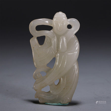 CHINESE HETIAN JADE CARVED FIGURE OF COURT LADYS STATUE