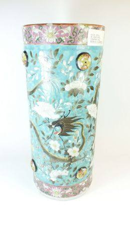 A Chinese Republic period Canton enamel umbrella stand decorated dragon and chrysanthemums 45cm