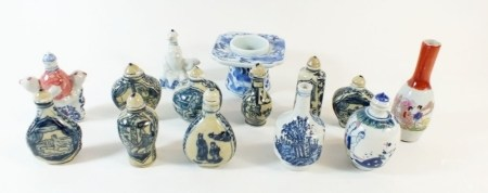 A quantity of miniature oriental vases and snuff boxes