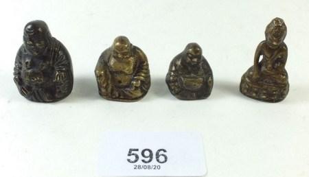 Four oriental bronze gold/coin weights