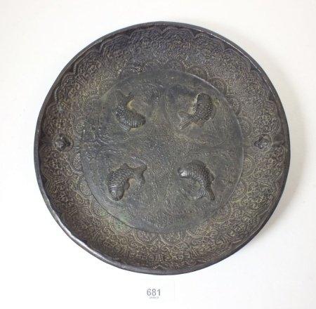 A bronze Chinese dish cast fish, 25cm diameter