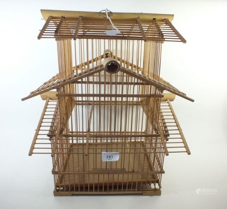 A vintage bamboo bird cage 50cm tall