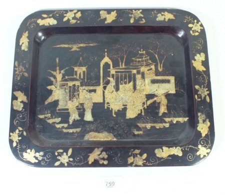A Chinese black and gilt lacquer tray painted figures in a landscape 22 x 34cm