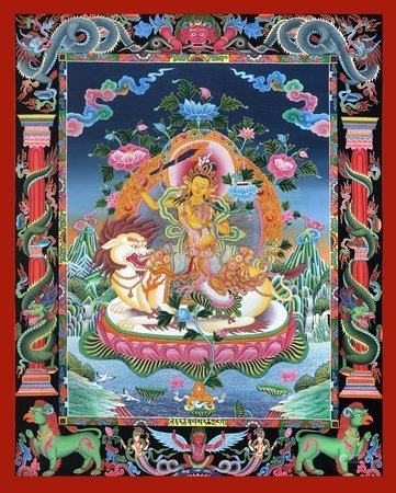 Superfine Tibetan Buddhist Deity Manjushri Seated on Lion Brocadeless Thangka in Newari Style