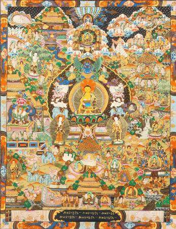 Gautam Buddha On The Six Ornament Throne of Enlightenment with Scenes from His Life Tibetan Bud
