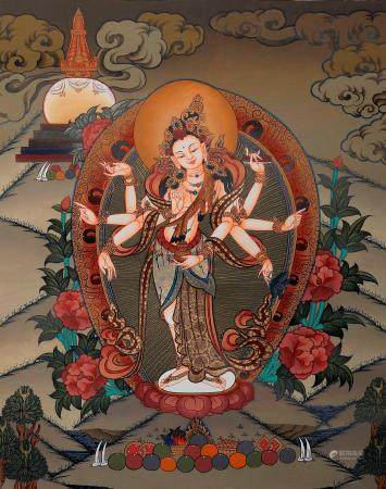The Graceful Bodhisattva Gunayin, Viewed Over The Himalayas Brocadeless Thangka