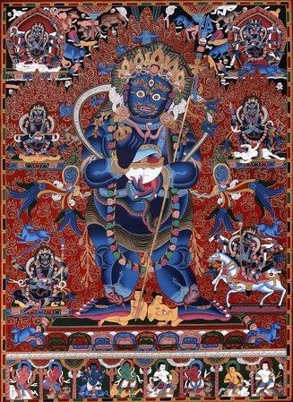 Two Armed Standing Mahakala Superfine Brocadeless Thangka