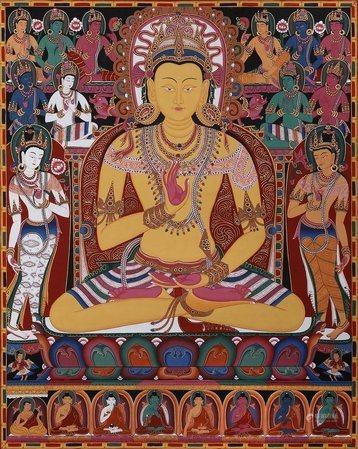 The Buddha Amoghasiddhi, Surrounded By The Dhyani Buddhas (Tibetan Buddhist Brocadeless Thangka