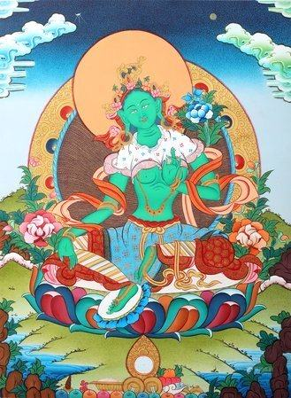 Emerald Green Goddess Green Tara Tibetan Buddhist Brocadeless Thangka