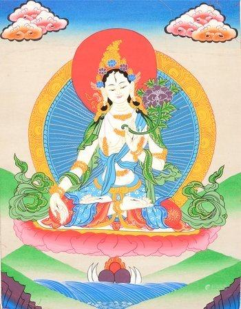 (Tibetan Buddhist) Sapta Lochani Goddess White Tara Who Bestows The Special Gift of Long Life o