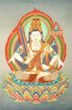 Japanese Manjushri Brocadeless Thangka