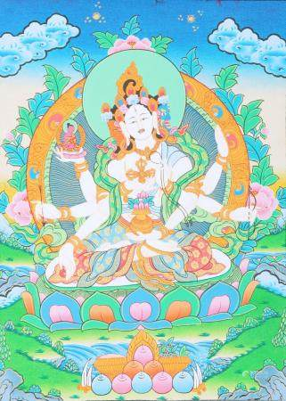Tibetan Buddhist Vasudhara Goddess of Good Luck and Knowledge