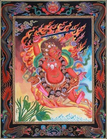 Superfine Two Armed Mahakala Tibetan Buddhist Thangka Without Brocade
