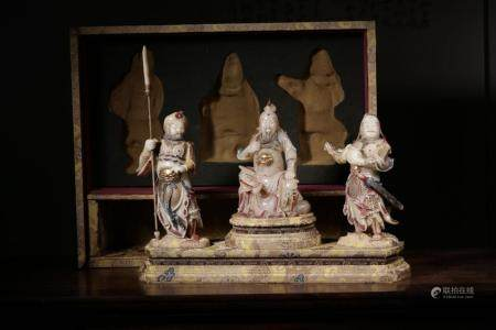 A SET OF THREE SOAPSTONE GUANGONG AND ATTENDANTS.QING PERIOD