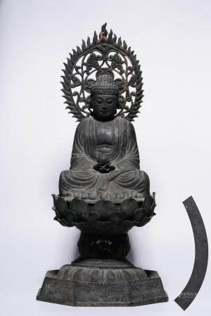 A BRONZE FIGURE OF BUDDHA.MING PERIOD