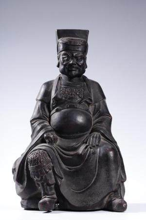 A BRONZE FIGURE OF OFFICER .QING PERIOD