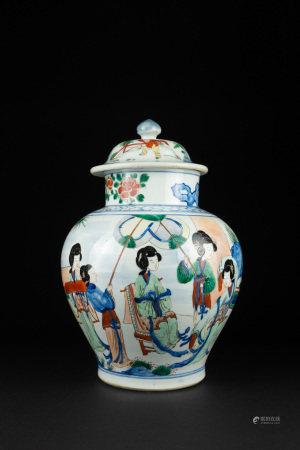 19世紀或之後 五彩仕女奏樂罐