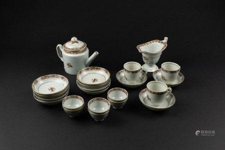 清19世紀 褐彩葡萄紋茶具組(22個)