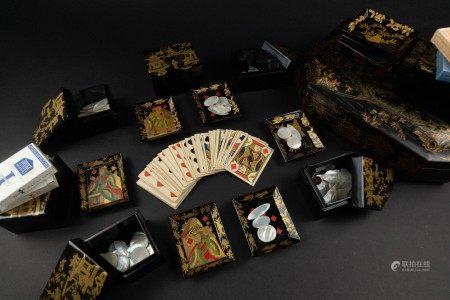 清 廣東黑漆描金撲克牌套盒