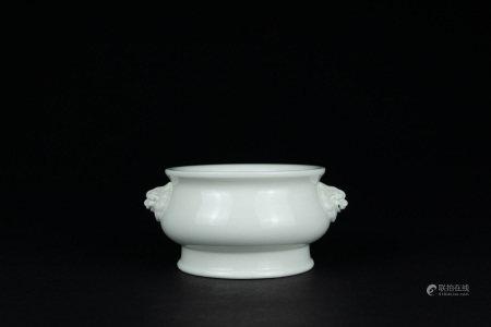 清早期 德化窯白瓷獅耳簋式爐
