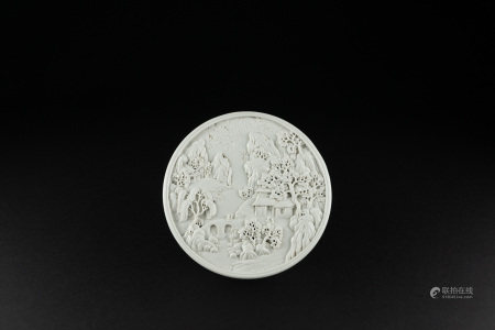 清 白瓷雕蓋盒(陳國治製)