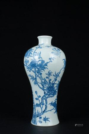 清 青花花鳥紋梅瓶