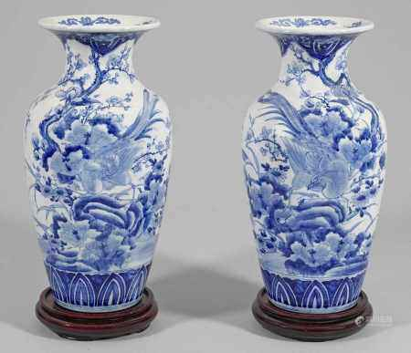 Paar Blauweiß-Balustervasen