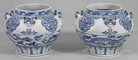 Paar Blauweiß-Cachepots mit Drachendekor