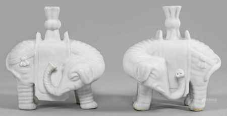 Paar Blanc-de-chine Elefanten mit Vasentülle