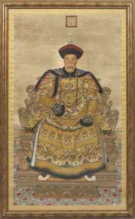 Paar große Porträts des chinesischen Kaiserpaares