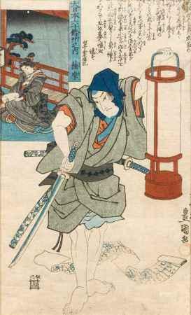 Zwei japanische Holzschnitte aus der Utagawa Toyokuni Schule