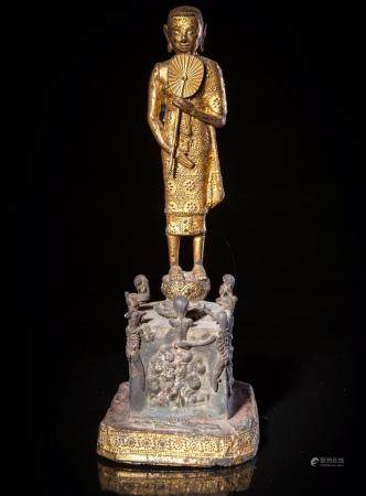 A Parcel Gilt-Lacquered Bronze Figure of Phra Malai