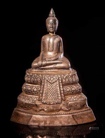 A Silver Seated Buddha, 19th century