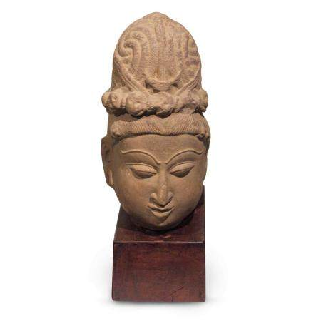 A Life-size Sandstone Head of Shiva