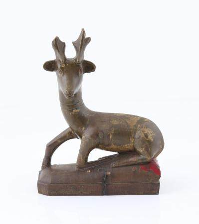 A Lacquered Wood Carving of a Deer