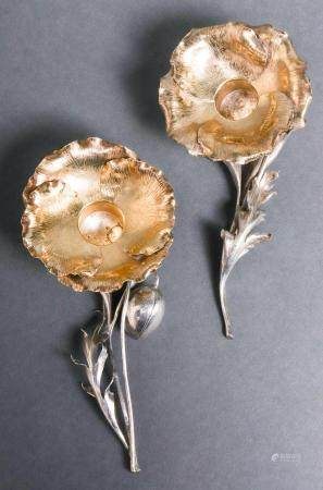 "Buccellati Silver ""Poppy"" Candle Holders, Pair"